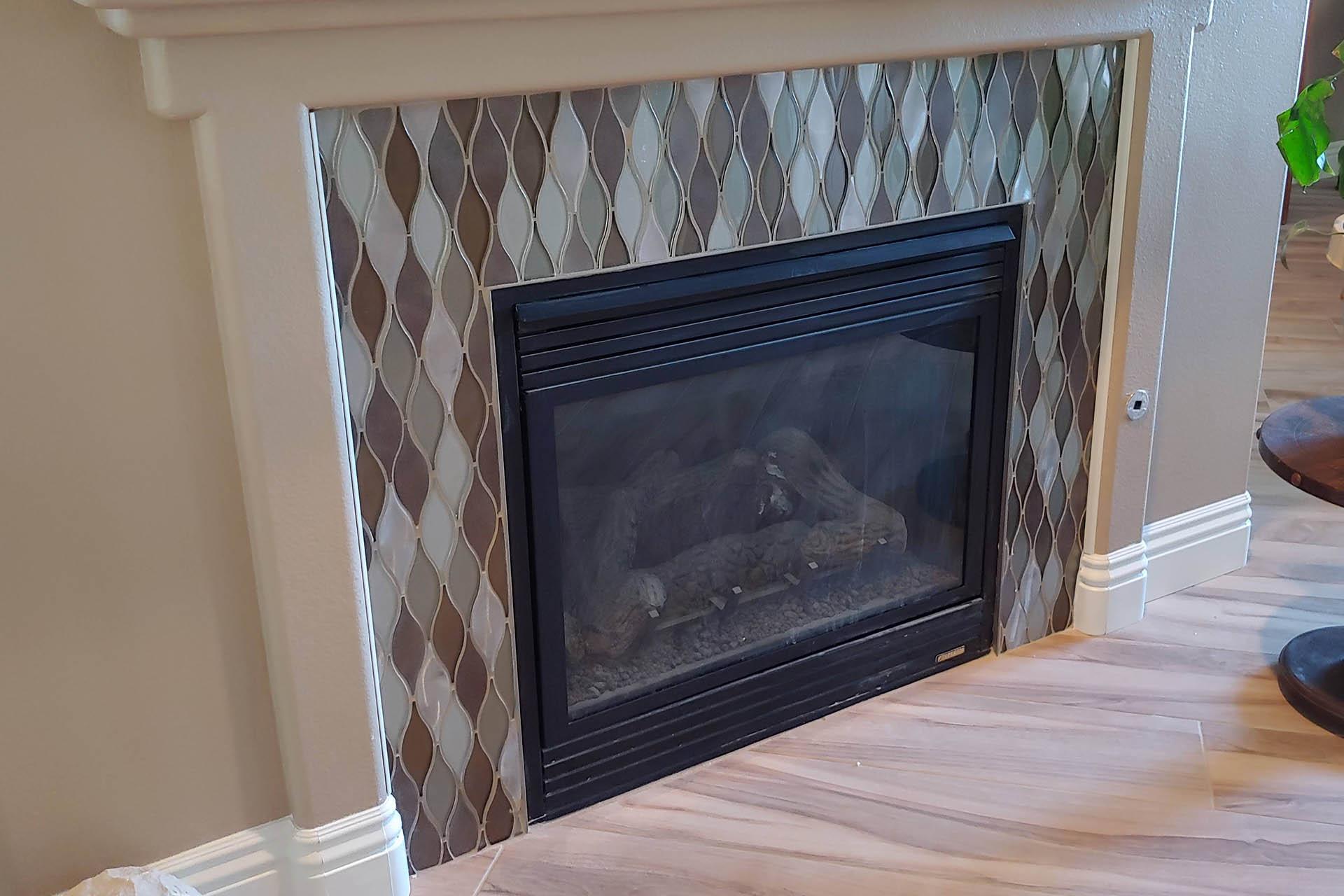 View Fireplace Glass & Aluminum Tile Install
