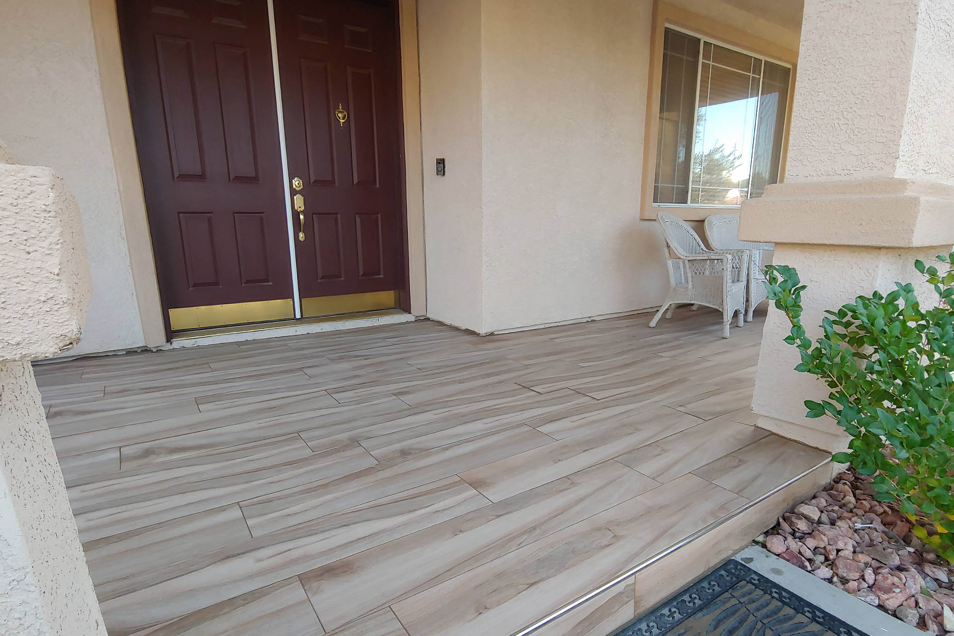 View Front Porch Tile Installation
