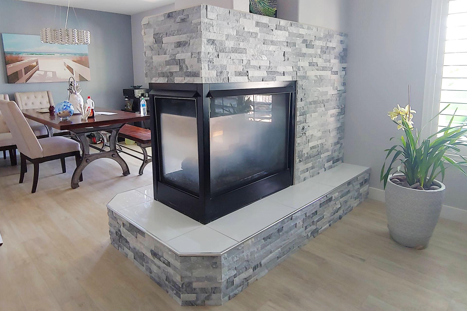 View Fireplace Stone Veneer Installation