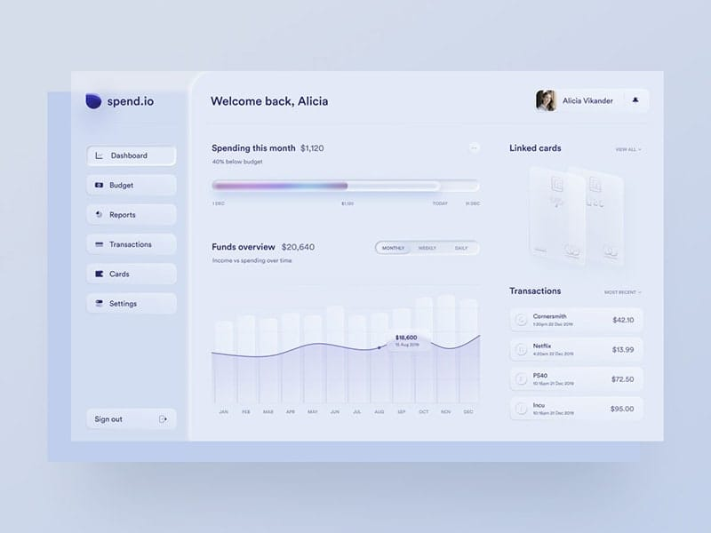 Skeuomorph personal finance app dashboard