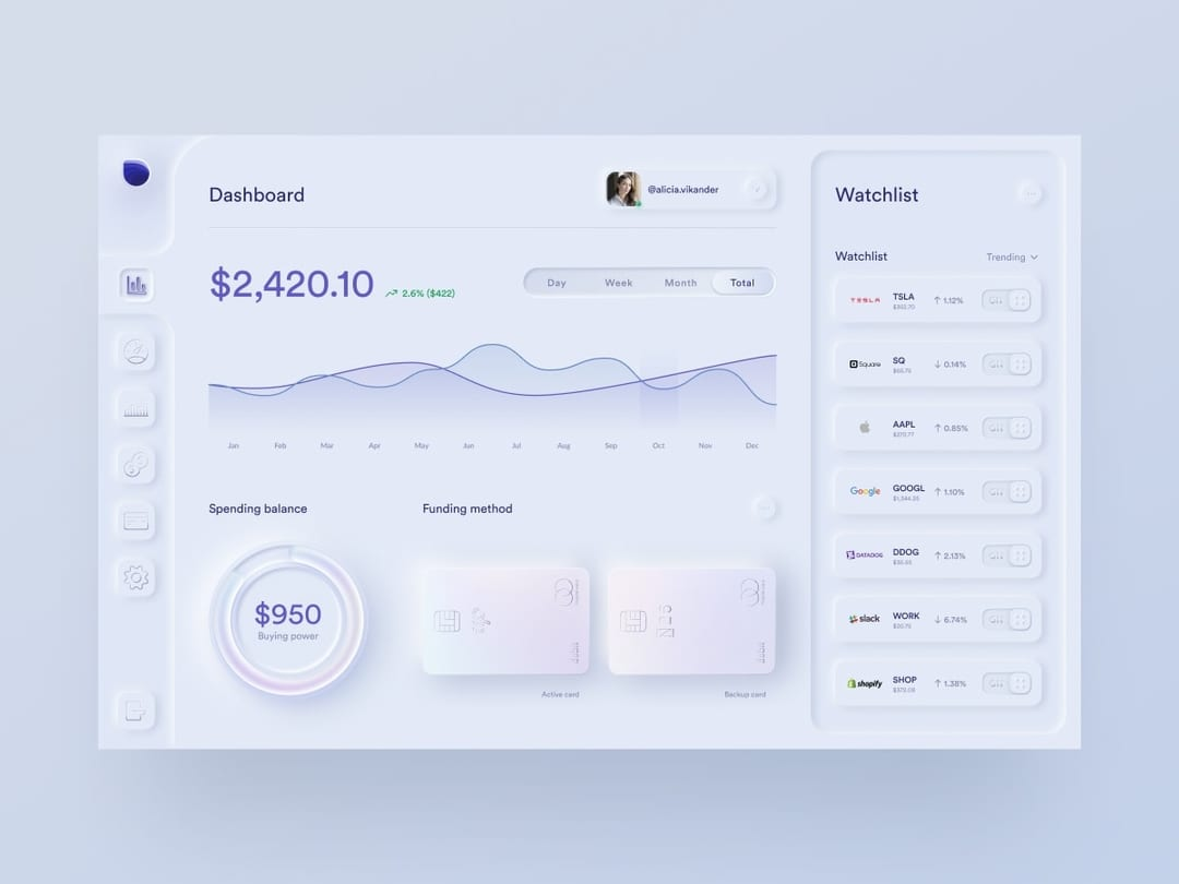 Skeuomorph investing app dashboard