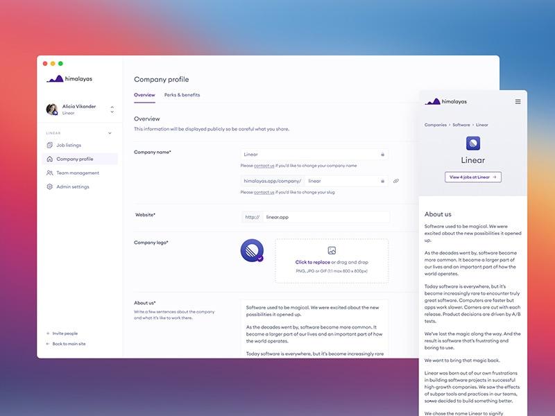 himalayas.app — company profile settings