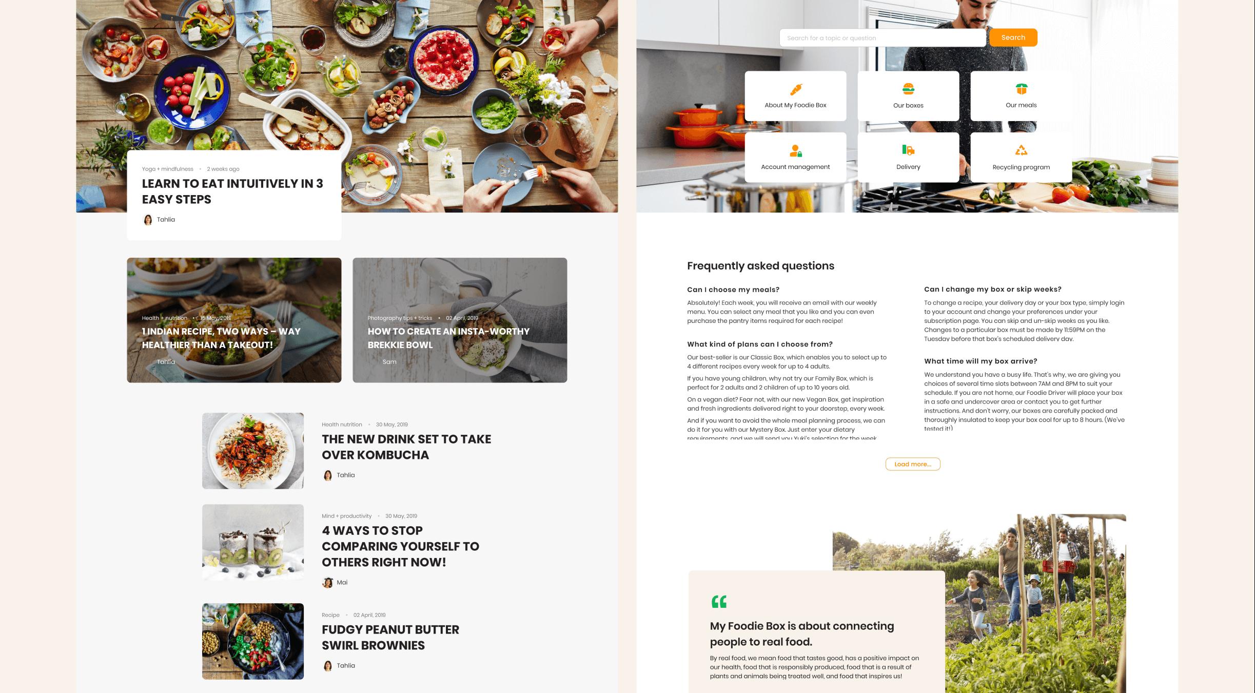 Mobile visual design, My Foodie Box
