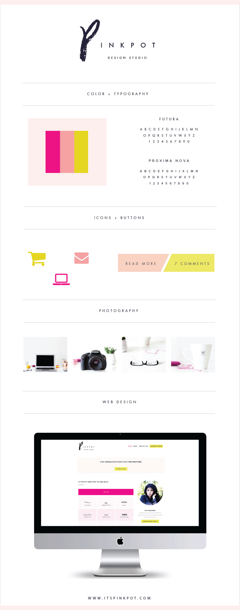 Complete step by step process of the branding + design for my brand - PinkPot