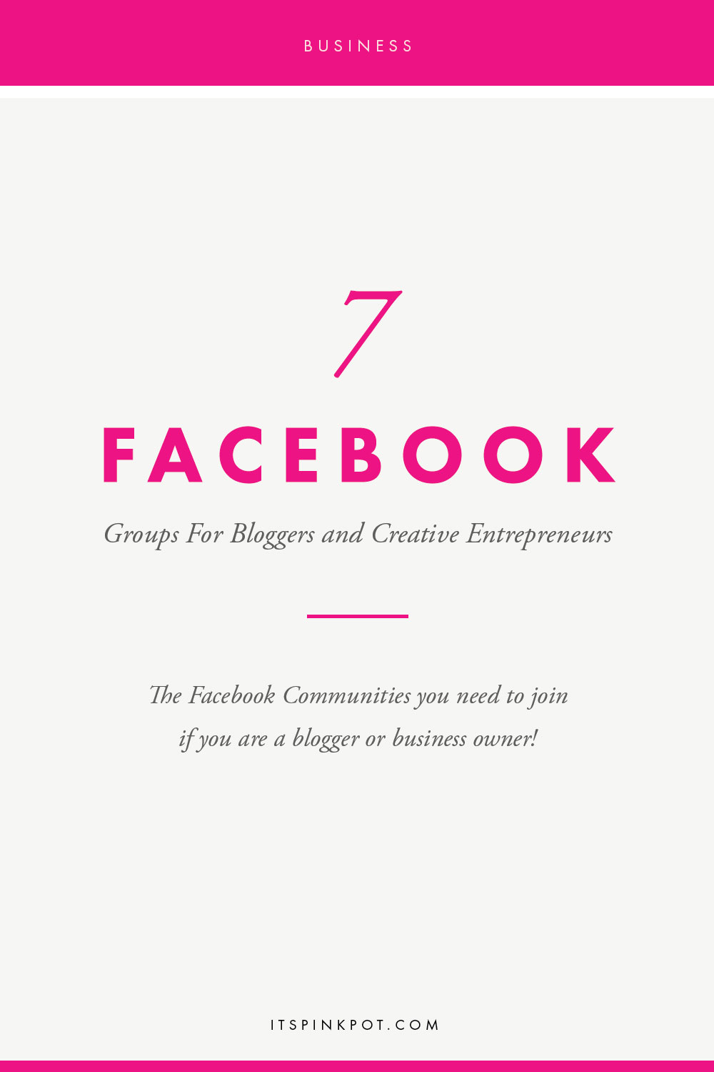 I love how spontaneous, interactive and helpful Facebook groups can be, not to forget how they encourage networking in a very authentic way to grow your business! If you are a blogger or creative entrepreneur, click here to read about my top 7 Facebook groups that I am in and LOVE!