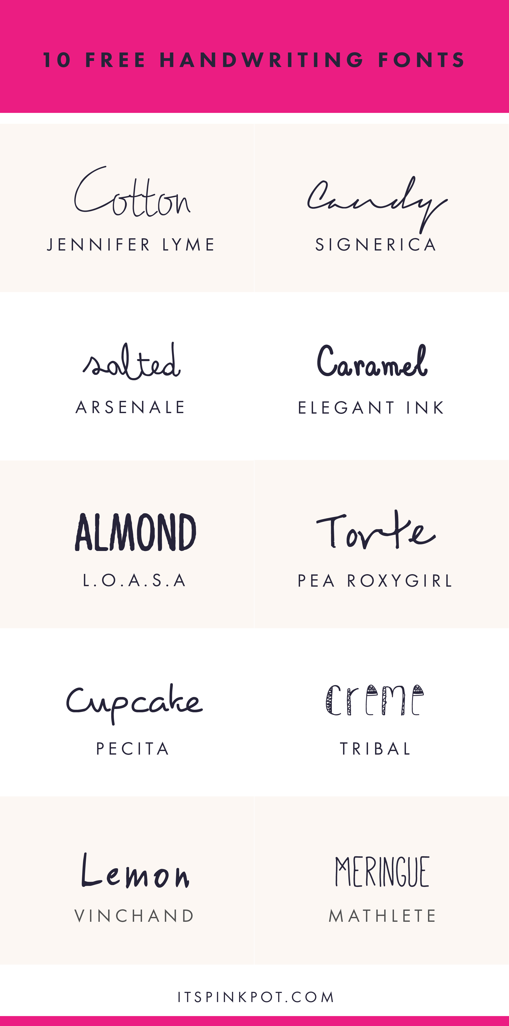 Check out these 10 gorgeous free handwriting fonts. They are all FREE too so enjoy. You will love these !