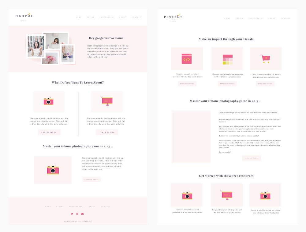 Here is the complete step by step process of the branding + design process for PinkPot Studio. Click here to read the full post>>