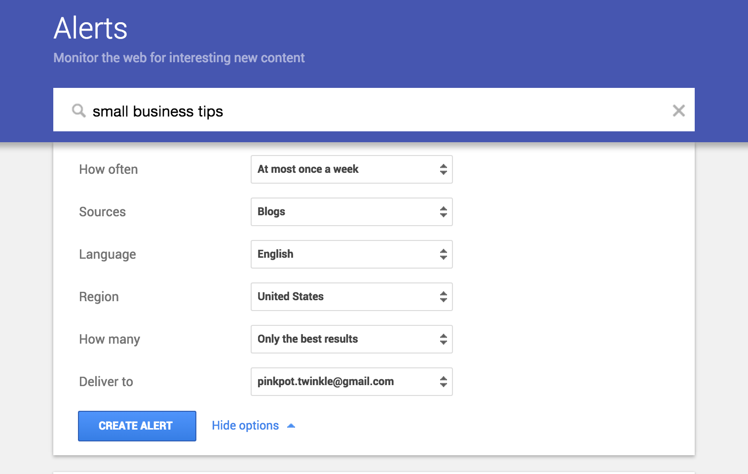 How to set up google alerts to find new content ideas