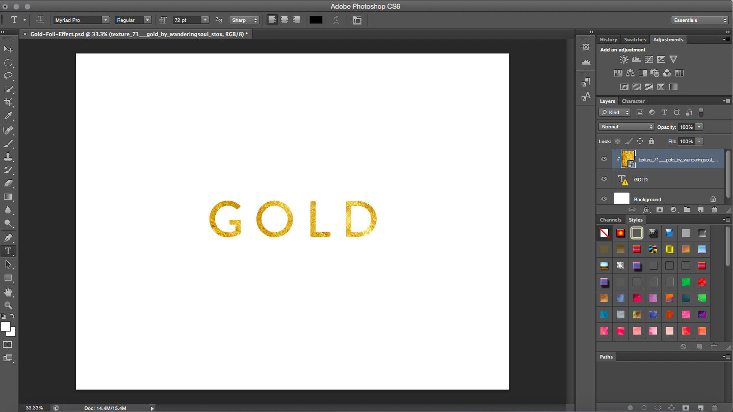 Create awesome gold foil text effect using Photoshop in 3 easy steps. You 'll learn how to use the clipping mask in Photoshop to create amazing text effects in Photoshop for your blog and business