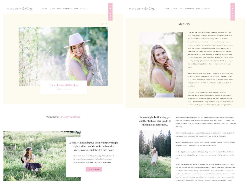 Squarespace web design process for The Society Darlings by Pinkpot Studio. Click here to learn all about it and see the website>>