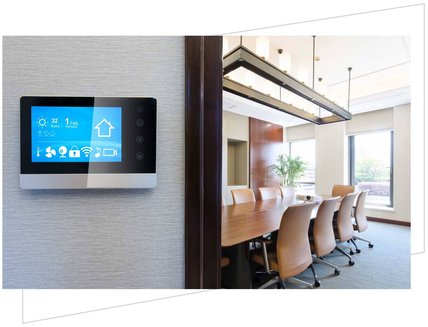 photo of smart conference room with projector and smart control panel