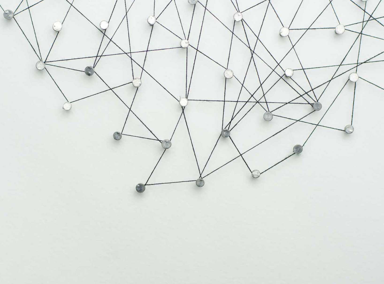 photo of many nails on white background with thread connecting all of them