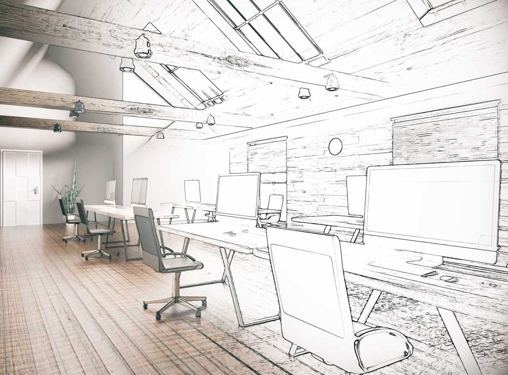 photo of workplace with computers, half photograph and half sketch