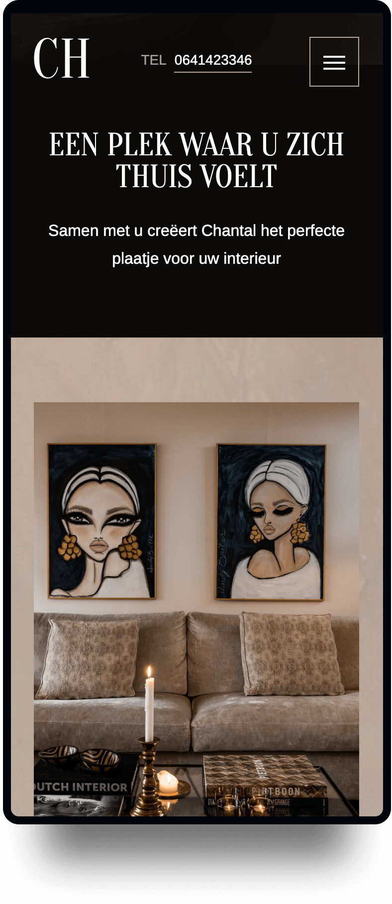 Studio Flabbergasted Portfolio - Screenshot Homepage Mobiel Chantal Hoozemans
