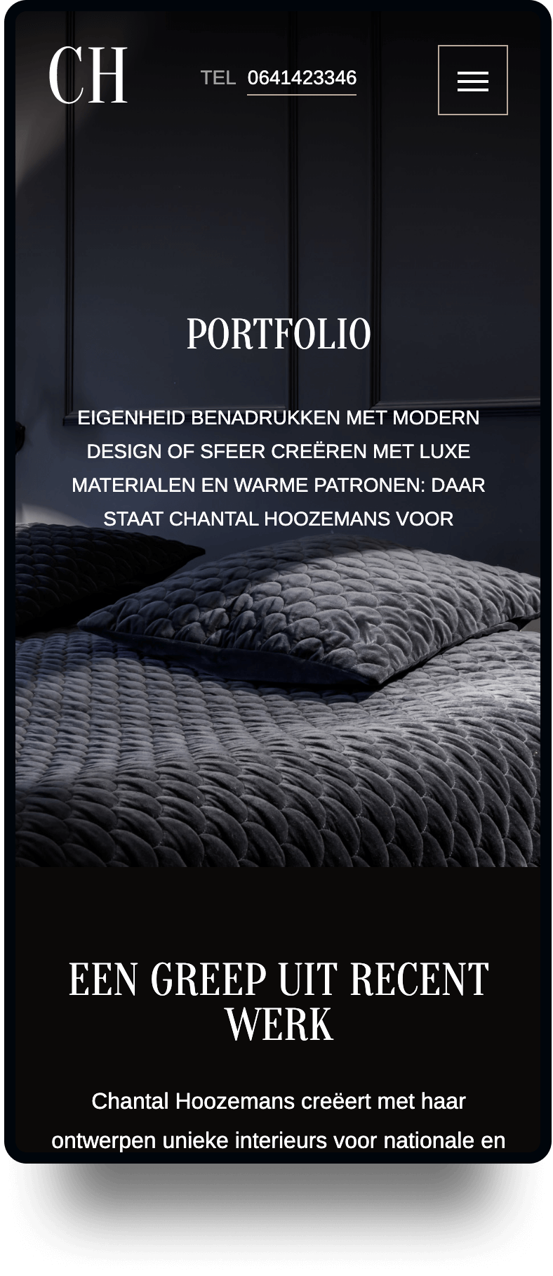 Studio Flabbergasted Portfolio - Screenshot Portfolio Mobiel Chantal Hoozemans