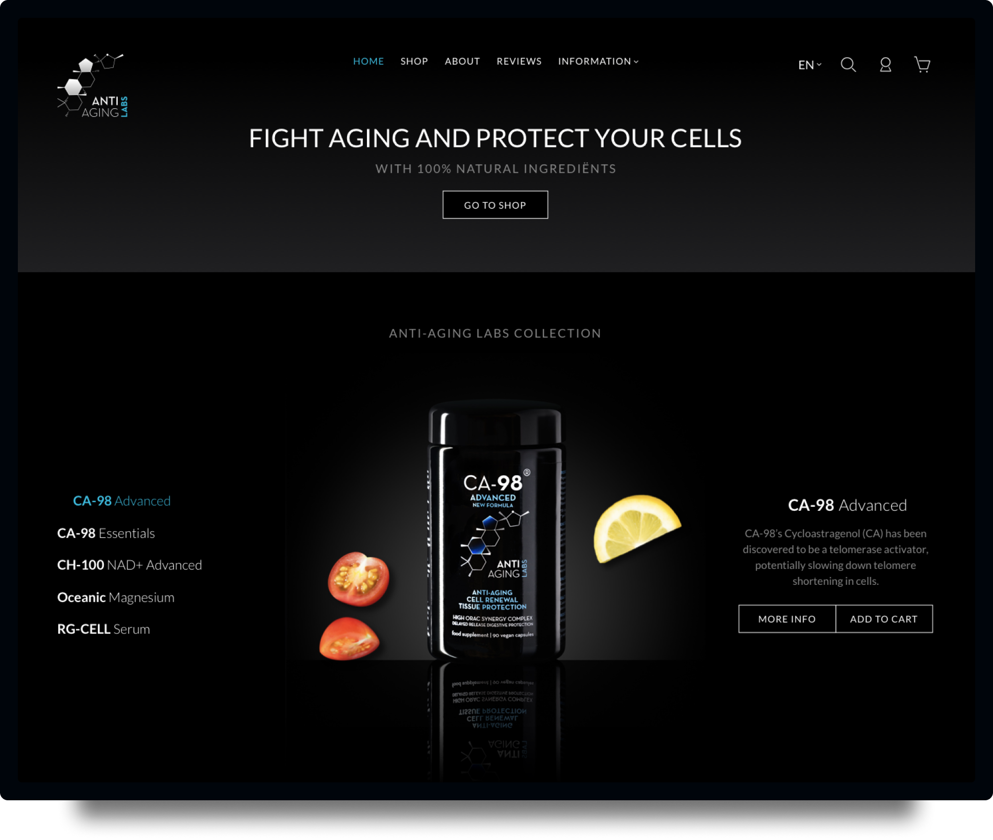 Studio Flabbergasted Portfolio - Screenshot Homepage Desktop Anti Aging Labs