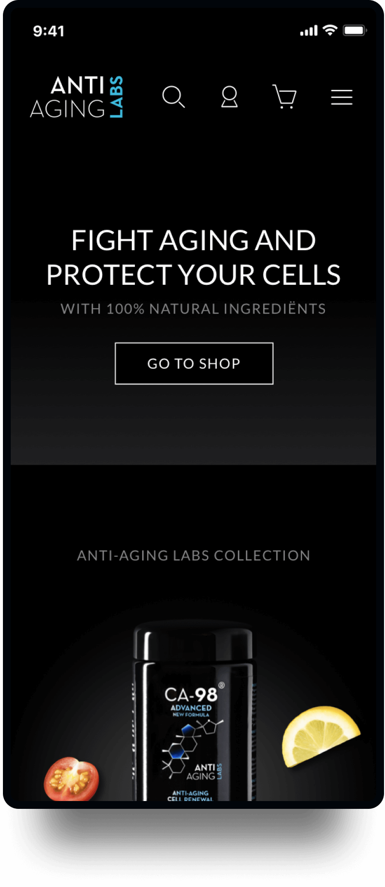 Studio Flabbergasted Portfolio - Screenshot Homepage Mobiel Anti Aging Labs
