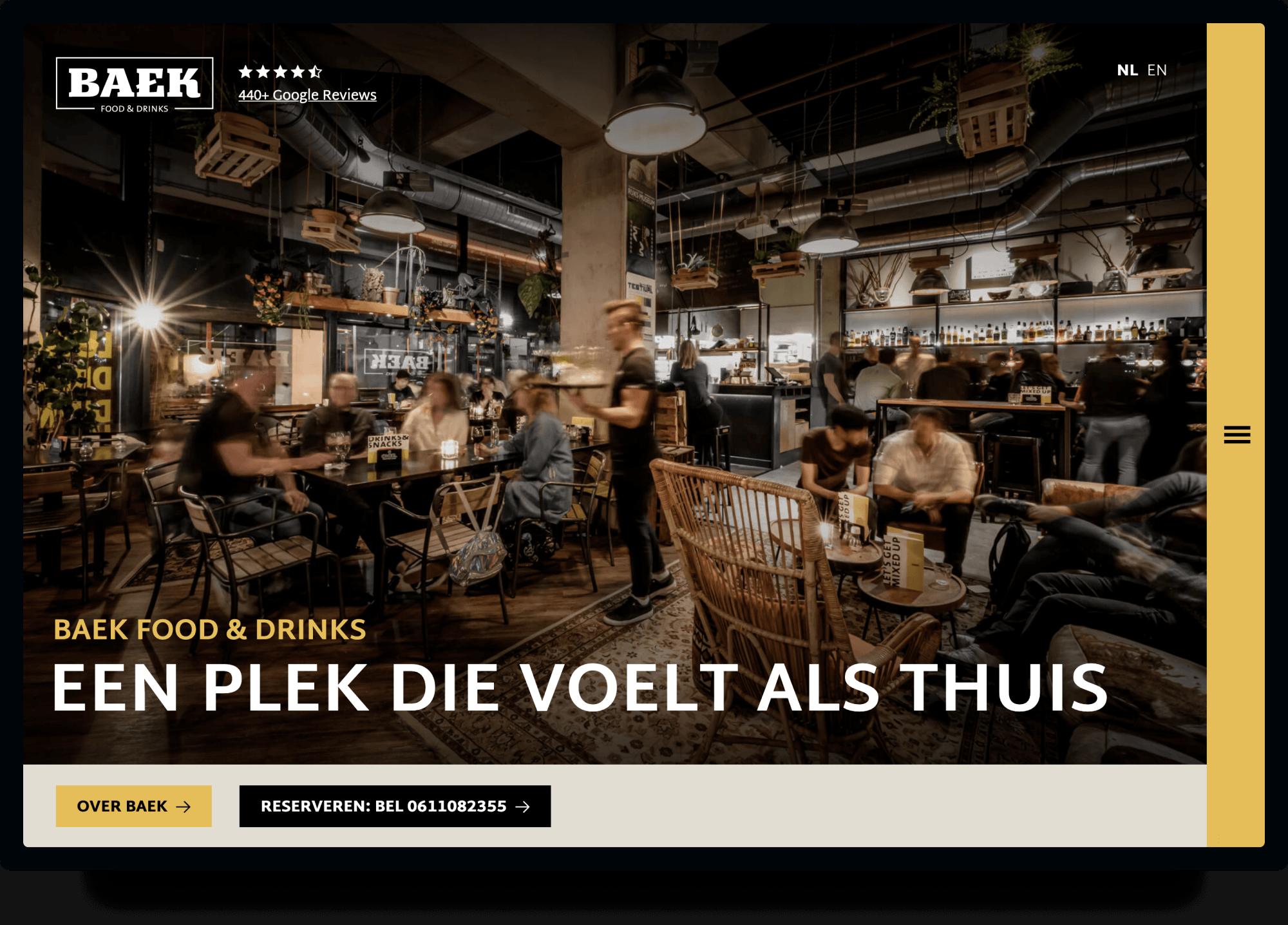Studio Flabbergasted Portfolio - Screenshot Homepage Desktop Baek Rotterdam