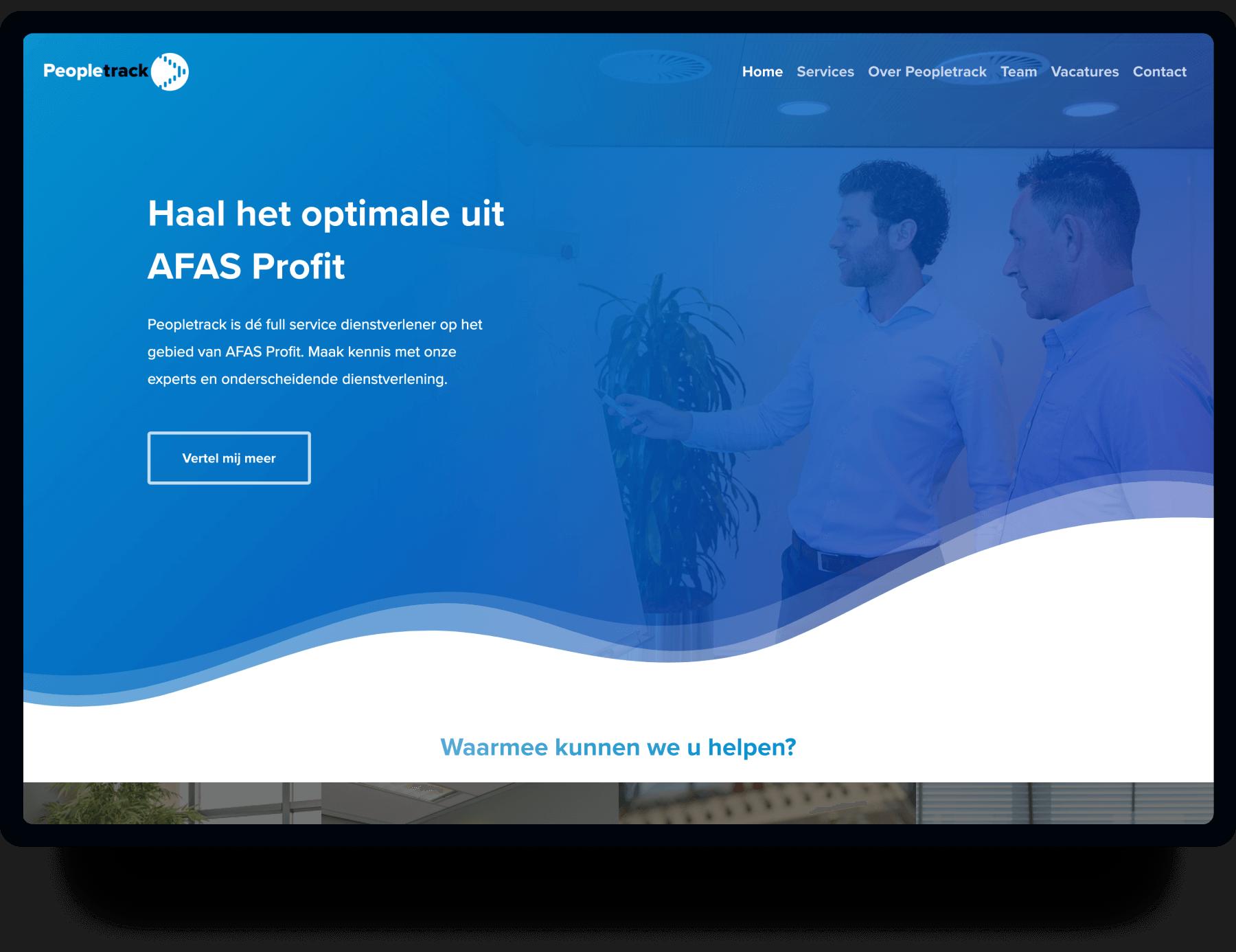 Screenshot van de homepage Peopletrack | Studio Flabbergasted
