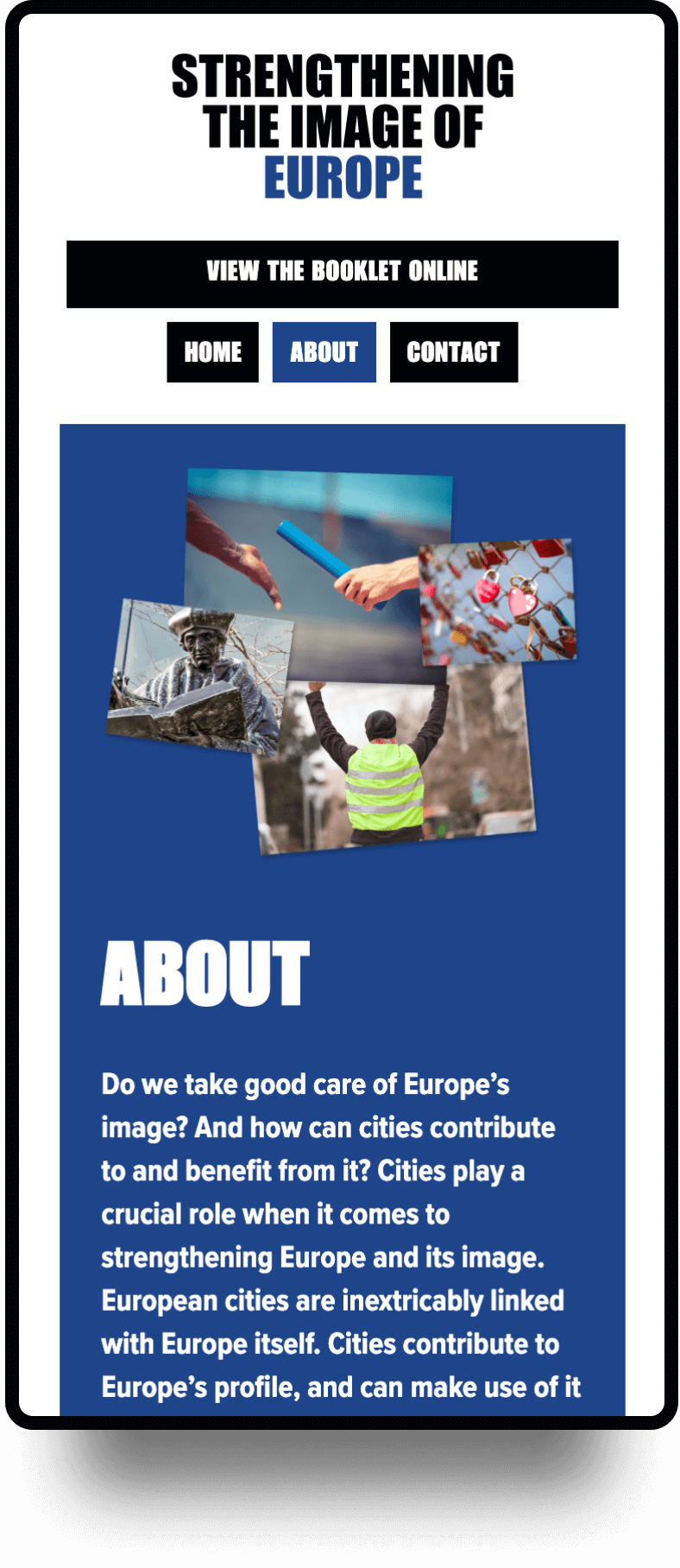 Screenshot van de mobiele homepage Image of Europe   Studio Flabbergasted