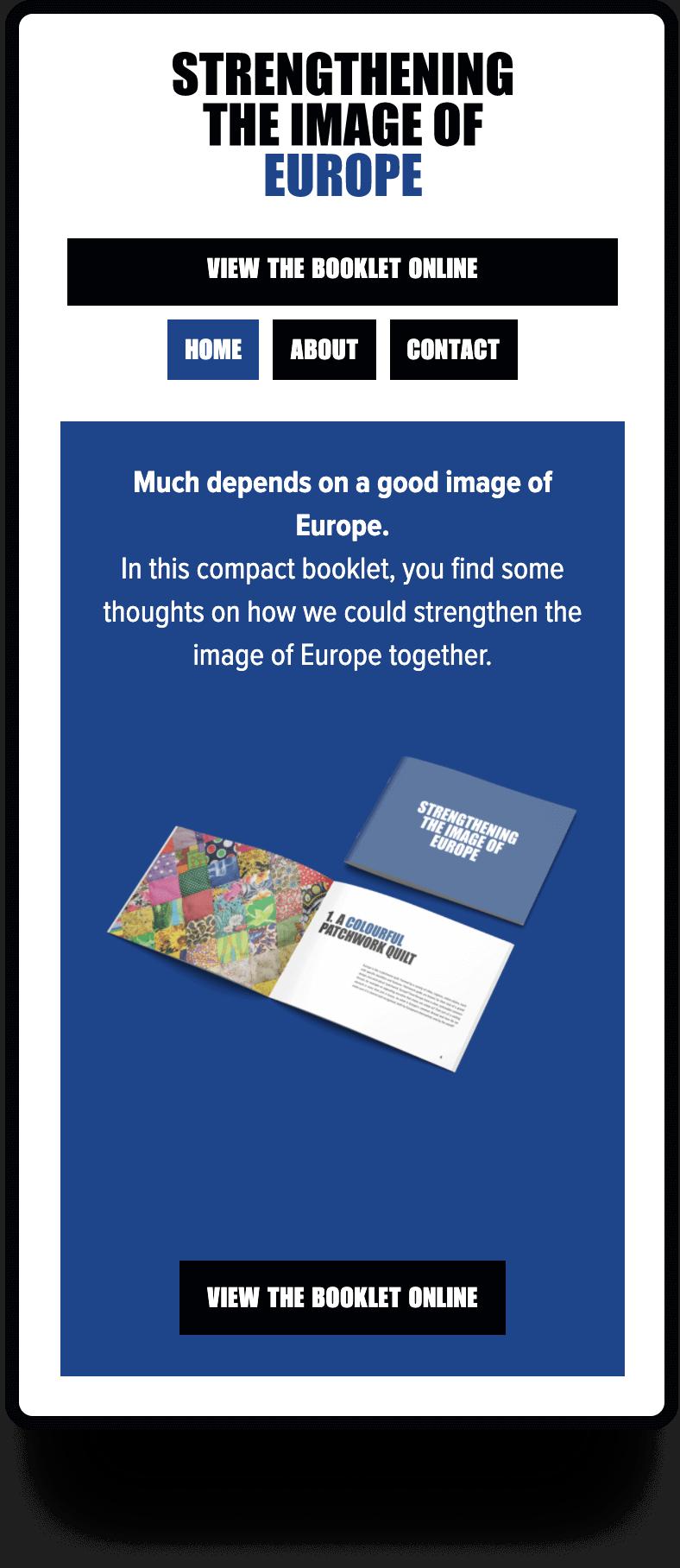 Screenshot van de mobiele about us pagina Image of Europe   Studio Flabbergasted