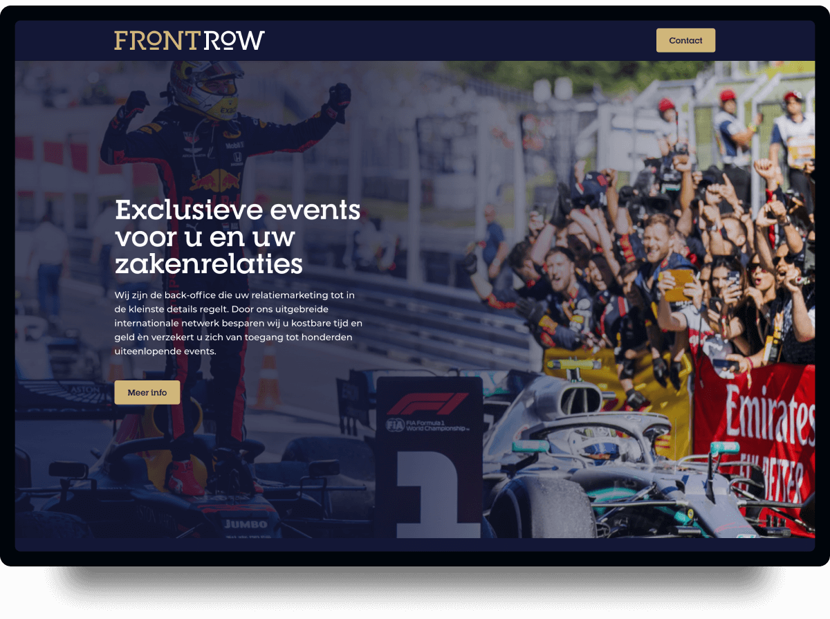 Screenshot homepage Front Row | Studio Flabbergasted