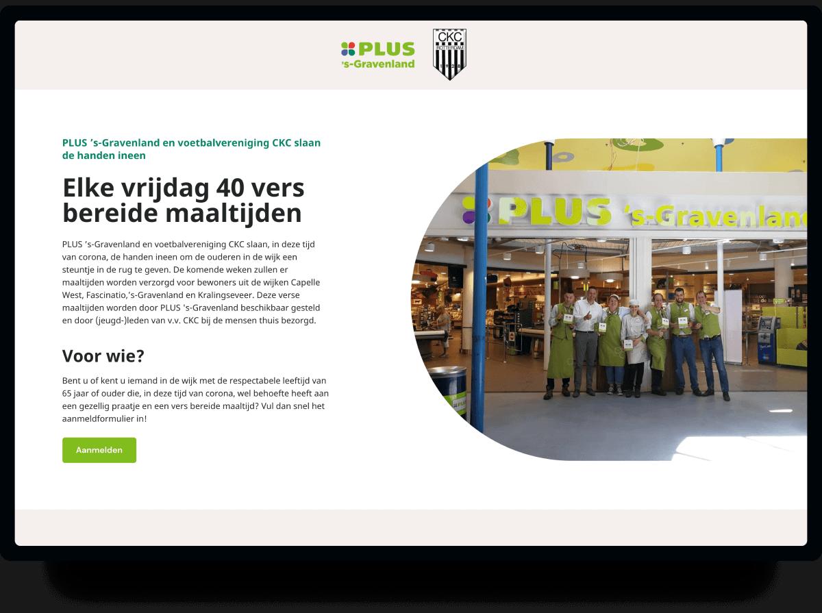 Actiepagina voor PLUS 's-Gravenland & voetbalvereniging CKC | Studio Flabbergasted