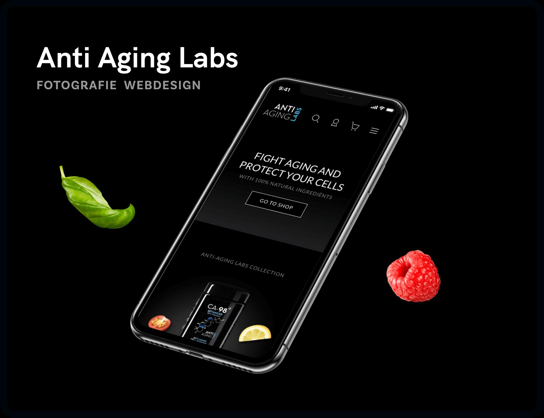 Screenshot van homepage Anti Aging Labs | Studio Flabbergasted