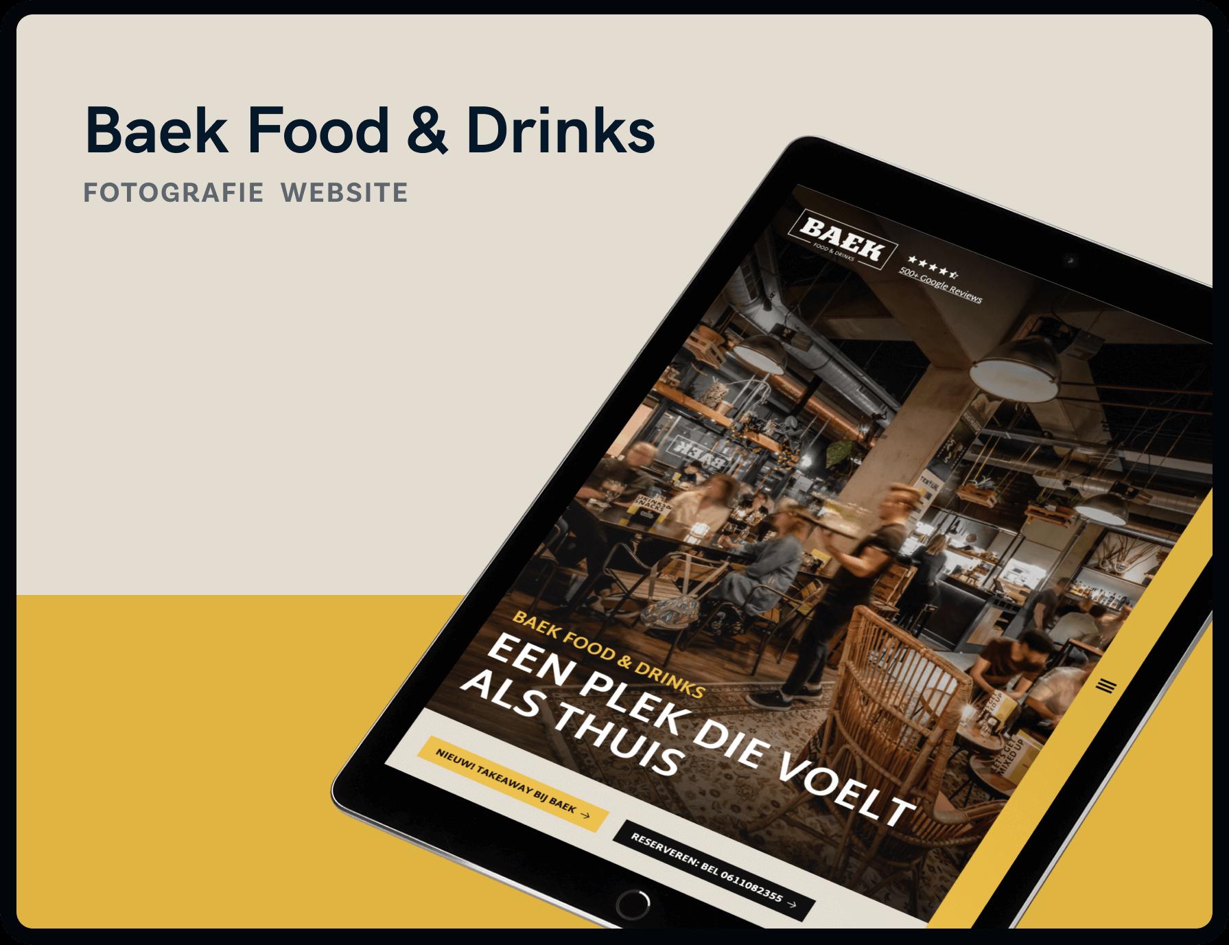 Screenshot van homepage Baek Food & Drinks | Studio Flabbergasted
