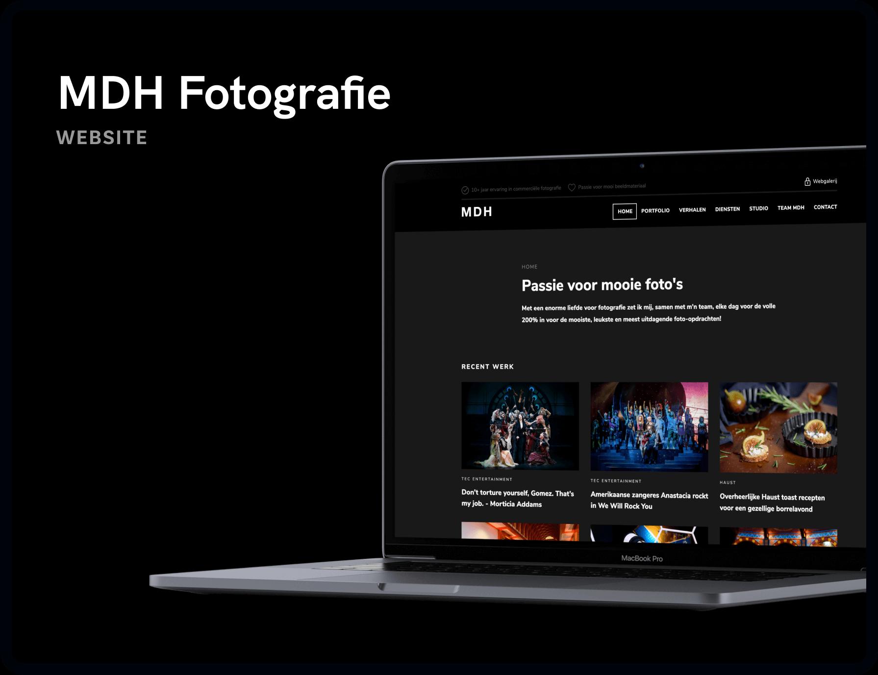 Screenshot van homepage MDH Fotografie & Design | Studio Flabbergasted