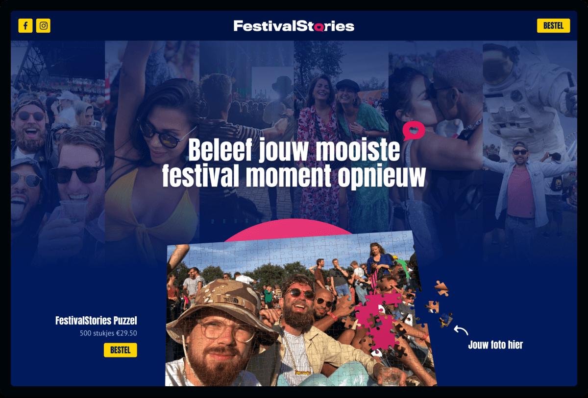 Screenshot van homepage FestivalStories | Studio Flabbergasted