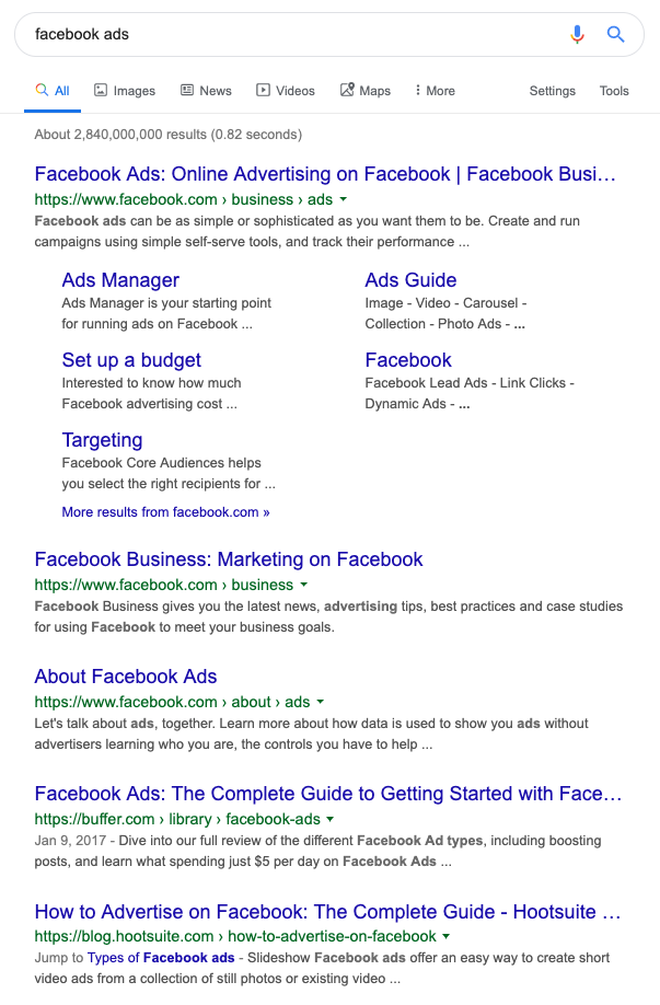 "SERP for ""facebook ad"" keyword"