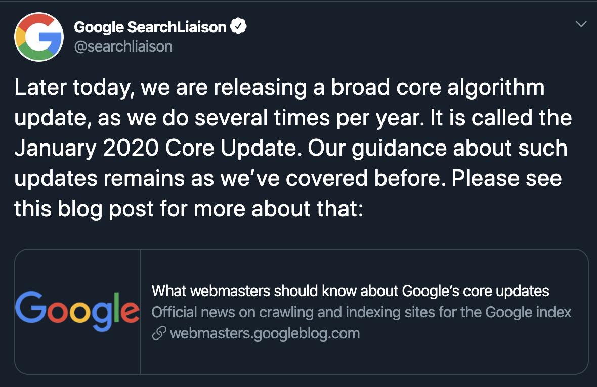 tweet by google about algorithm update