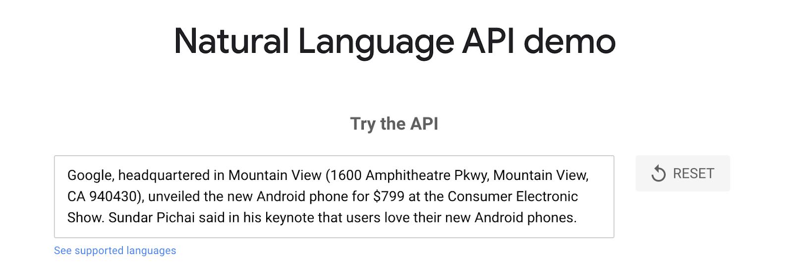 google's NLP api demo input