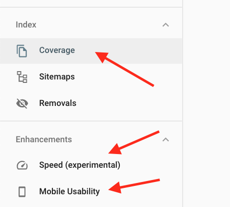 google search console coverage enhacements