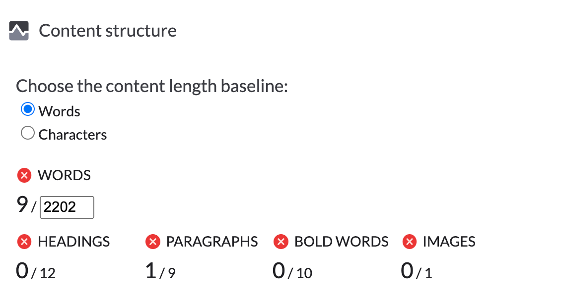 content structure suggestions in surfer content editor