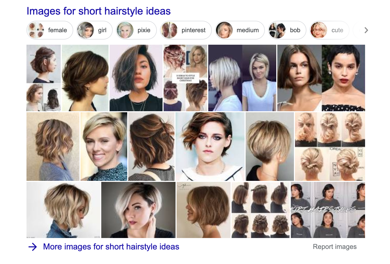 """picture carousel in SERP for """"short hairstyle ideas query"""""""
