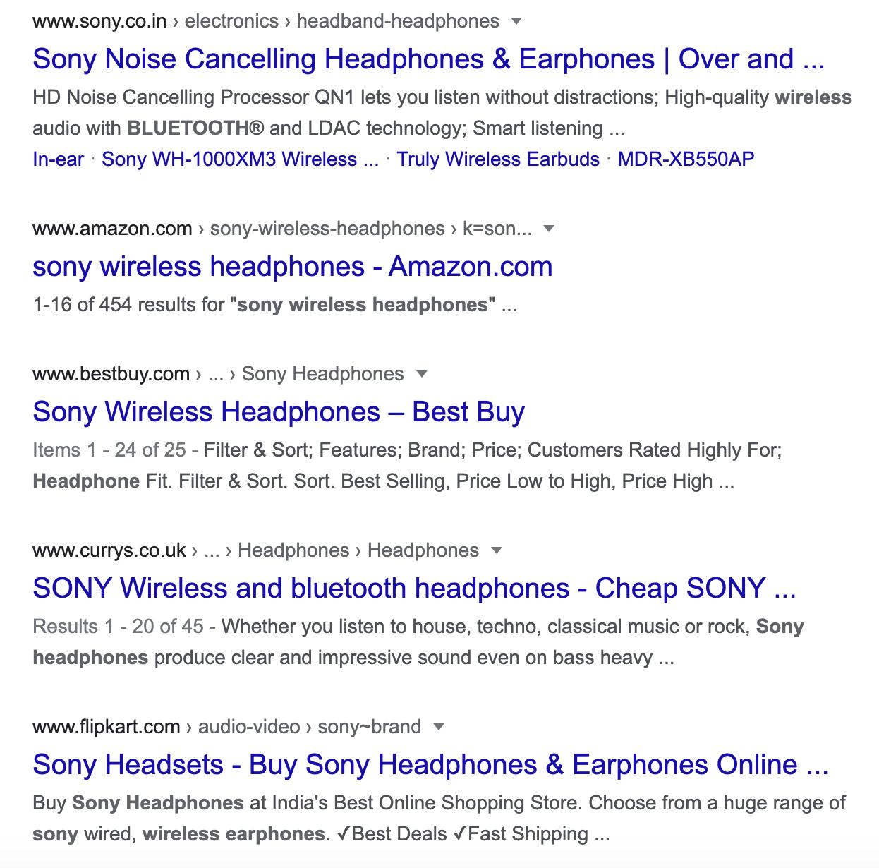 SERP for wireless headphones sony query