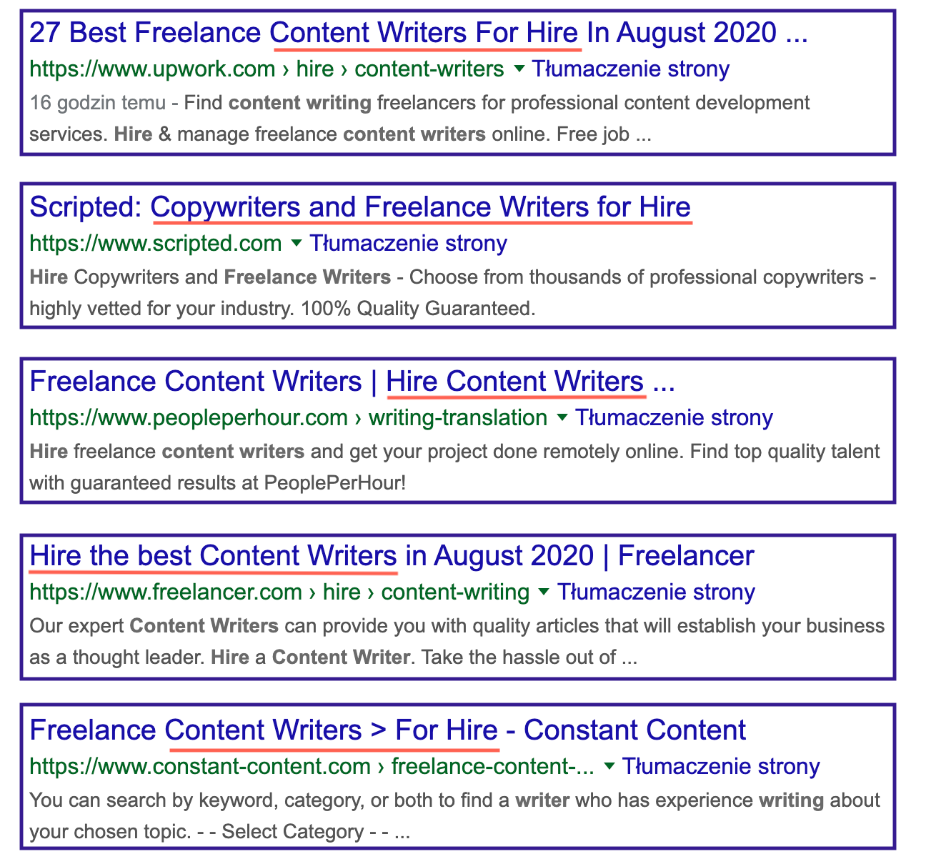 search intent in serp for hire content writers keyword 1