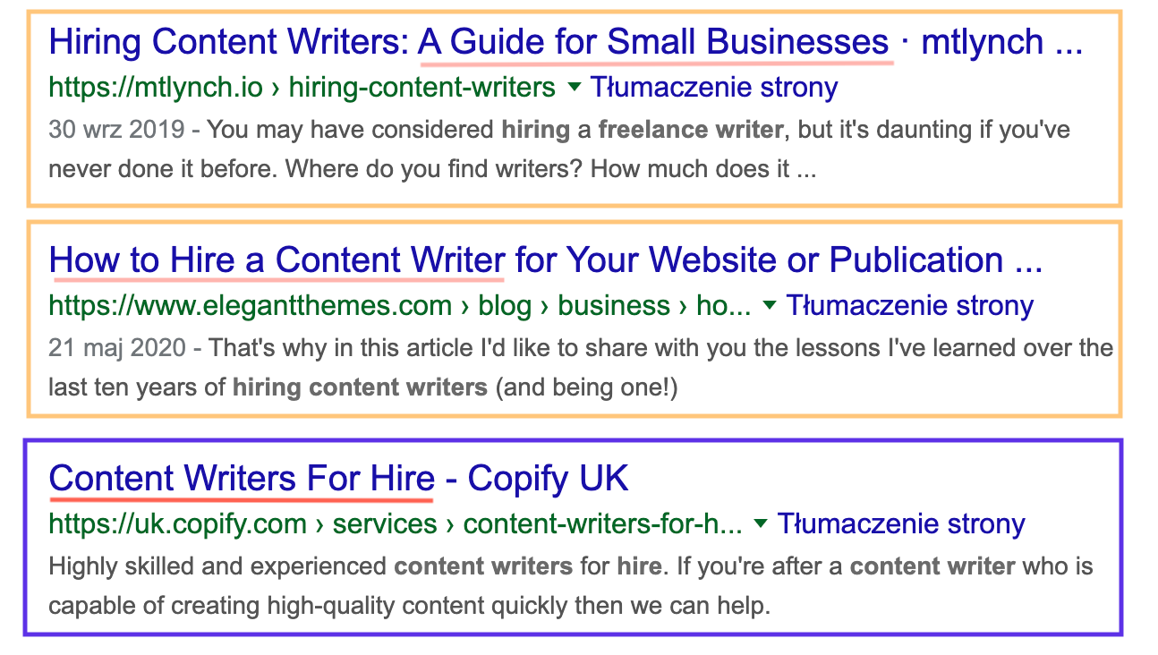 search intent in serp for hire content writers keyword 3