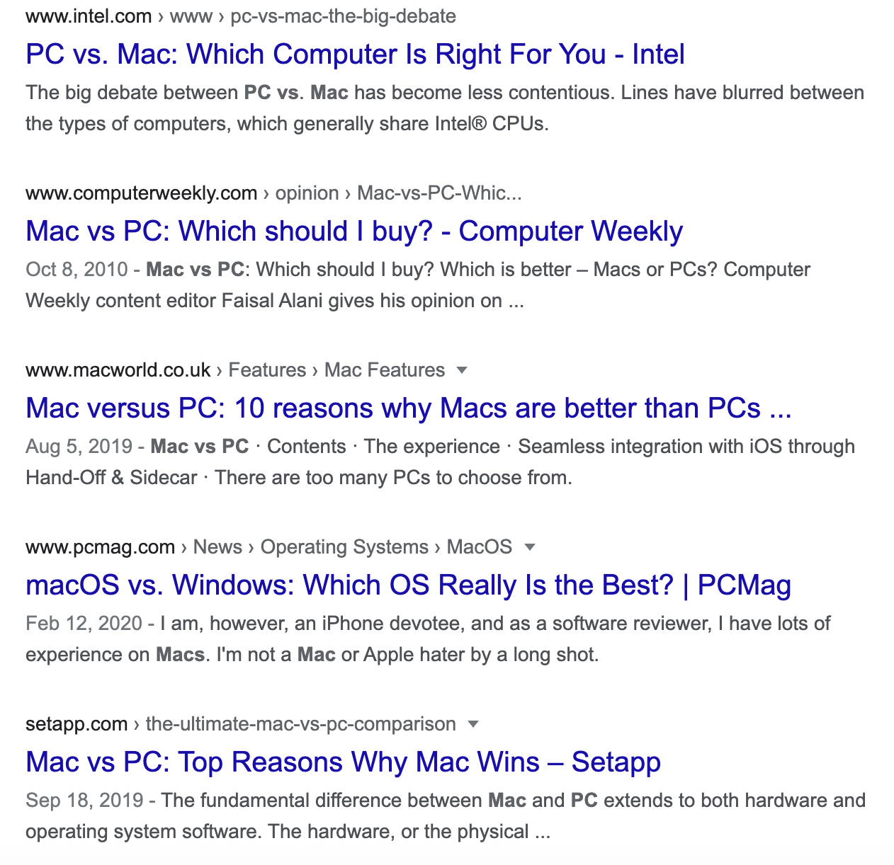SERP for mac vs pc query