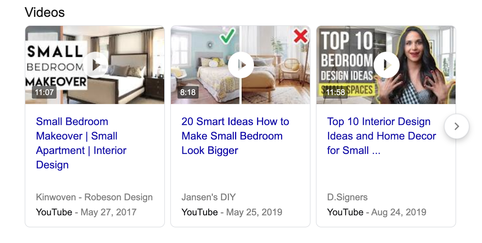 video pack for internal design for small bedroom query