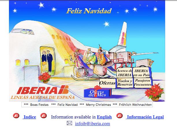 pagina web de Iberia en 1996