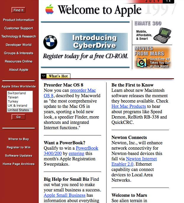 página web de Apple en 1997