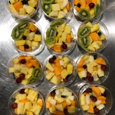 picture of a fruit salad in small container (top view)