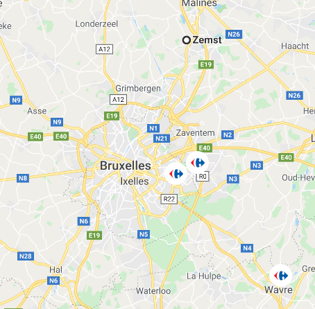 map of Brussels, with pointer for location of the shops
