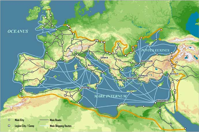 rotas de comercio imperio romano logistica