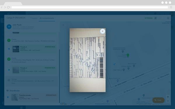 Fretefy - Comprovante de entrega sendo exibido na plataforma Fretefy