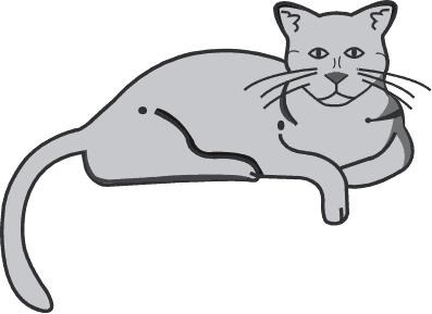 The Cat's Meow Veterinary Clinic logo - a grey cat