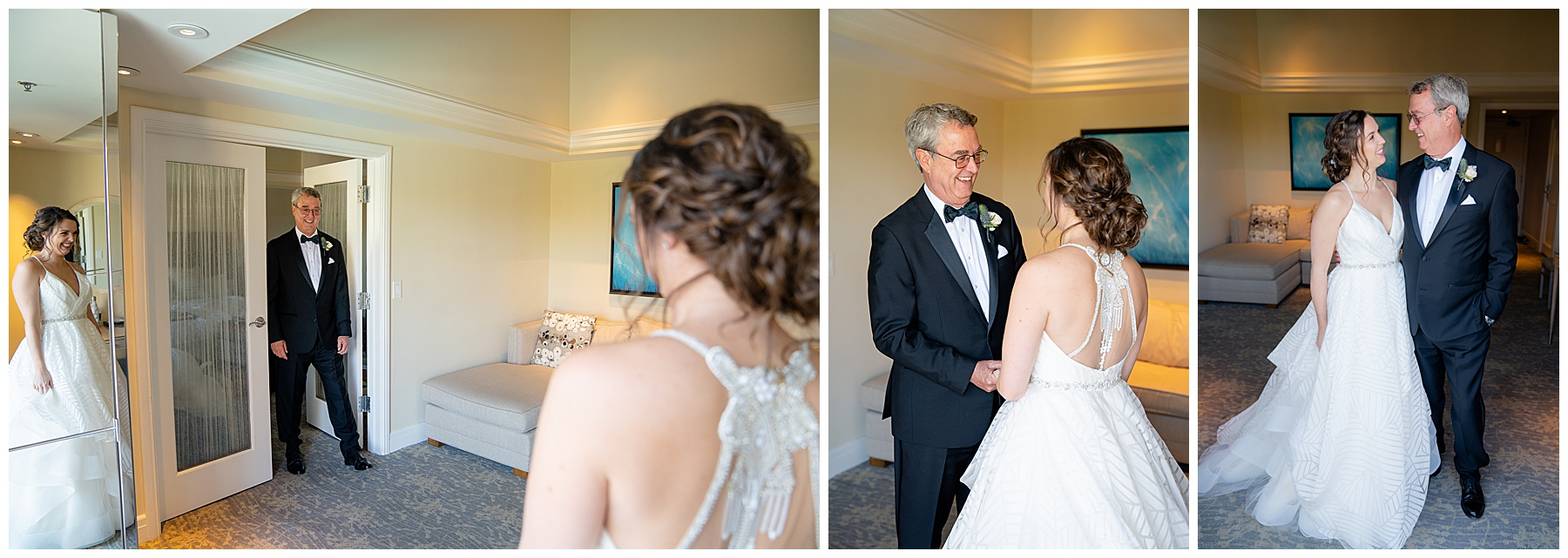 father and daughter first look talega golf club weddings